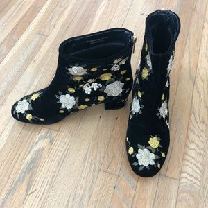 Flower embroidered black booties from TopShop